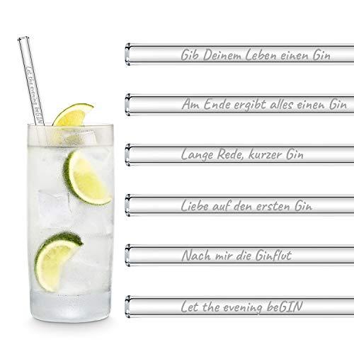 HALM Glasstrohhalme Gin Sprüche...