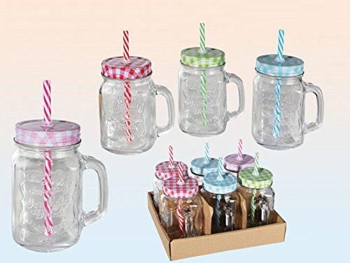 Trinkglas mit Henkel und farbigem...