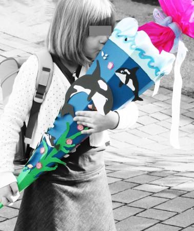 Delfin Schultüte selber basteln für Mädchen und Jungs
