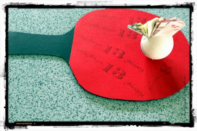 Gutschein selber basteln: Tischtennis Schläger