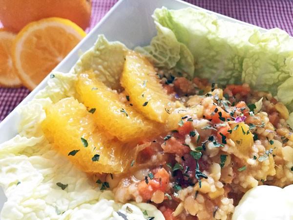 Linsensalat mit Hirse und Orange
