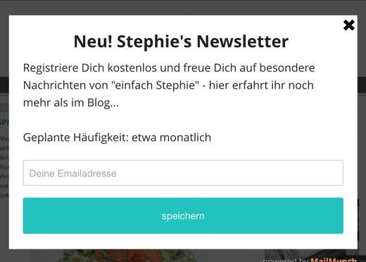 Neuigkeiten bei einfach Stephie: Newsletter abonnieren