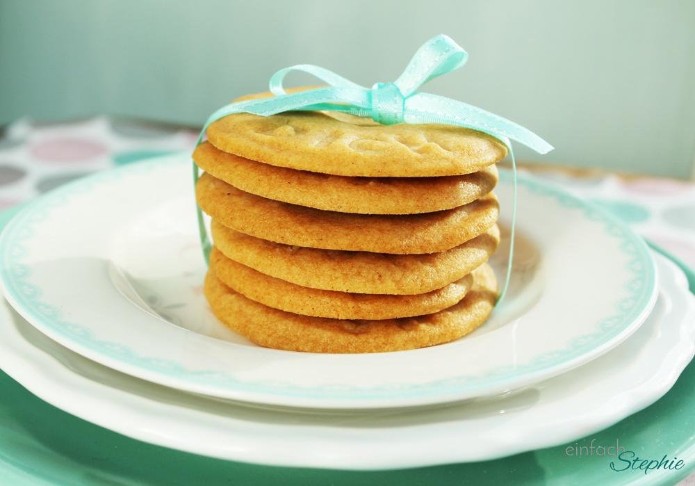 Karamell Kekse ohne Ei seitlich