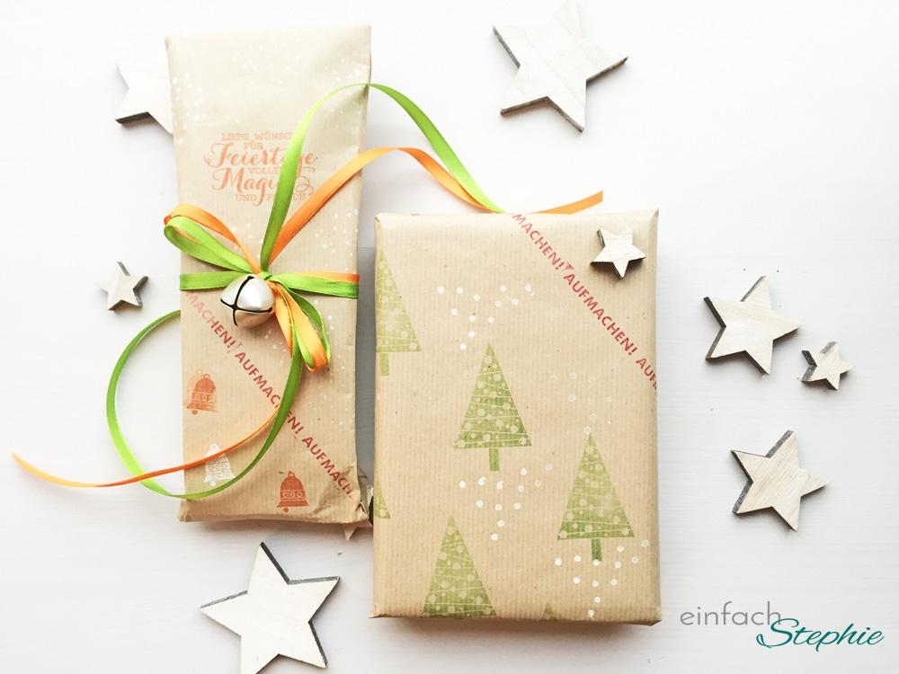 Geschenkpapier selber machen: zwei Geschenke fertig verpackt