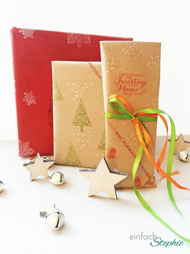Geschenkpapier selber machen: verpackte Geschenke