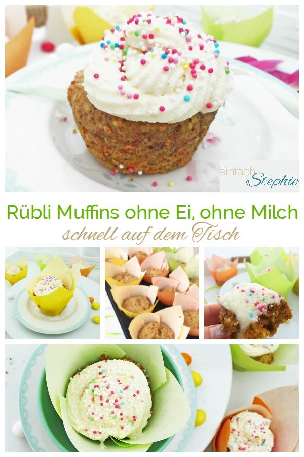 Rübli Muffins ohne Ei, ohne Milch. Vegane Muffins zu Ostern, schnell auf dem Tisch mit www.einfachstephie.de