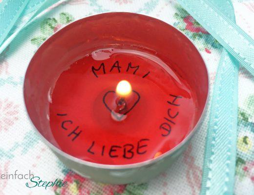 Muttertagsgeschenk basteln: Zauberhaftes Teelicht
