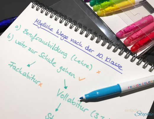 Entscheidung fällen und gewinnen mit Frixion Colors. Liste Wege