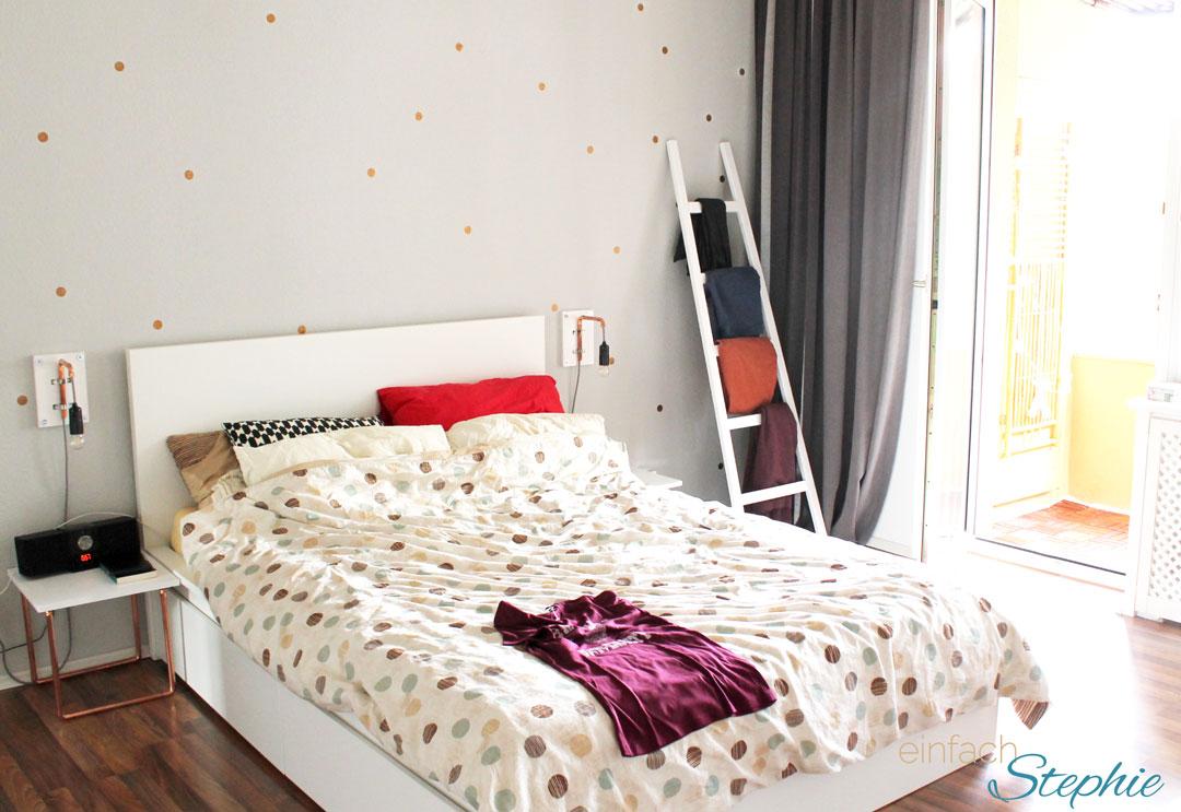 DIY Möbel: Möbel aus Kupferrohr selber machen. Blick ins Schlafzimmer