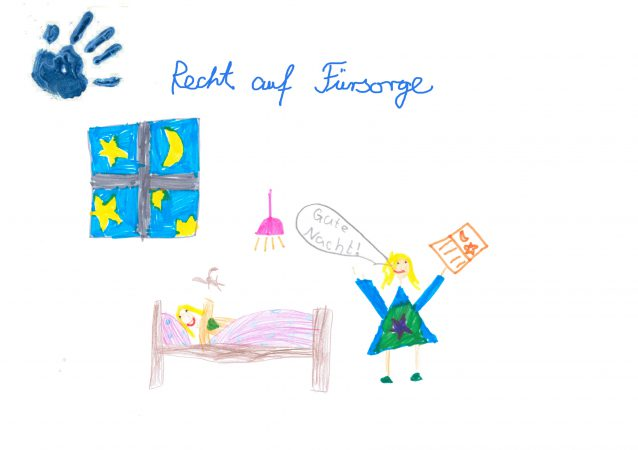 SOS-Kinderdorf Tag der Kinderrechte. Zeichnung zum Thema Fürsorge