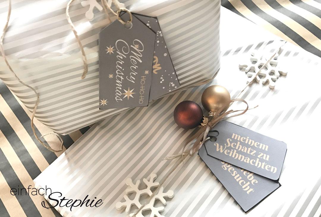 Geschenk Anhänger für Weihnachten kostenlos ausdrucken. Freebie