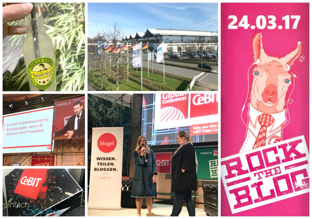 Rock the Blog auf der Cebit 2017 in Hannover. Collage