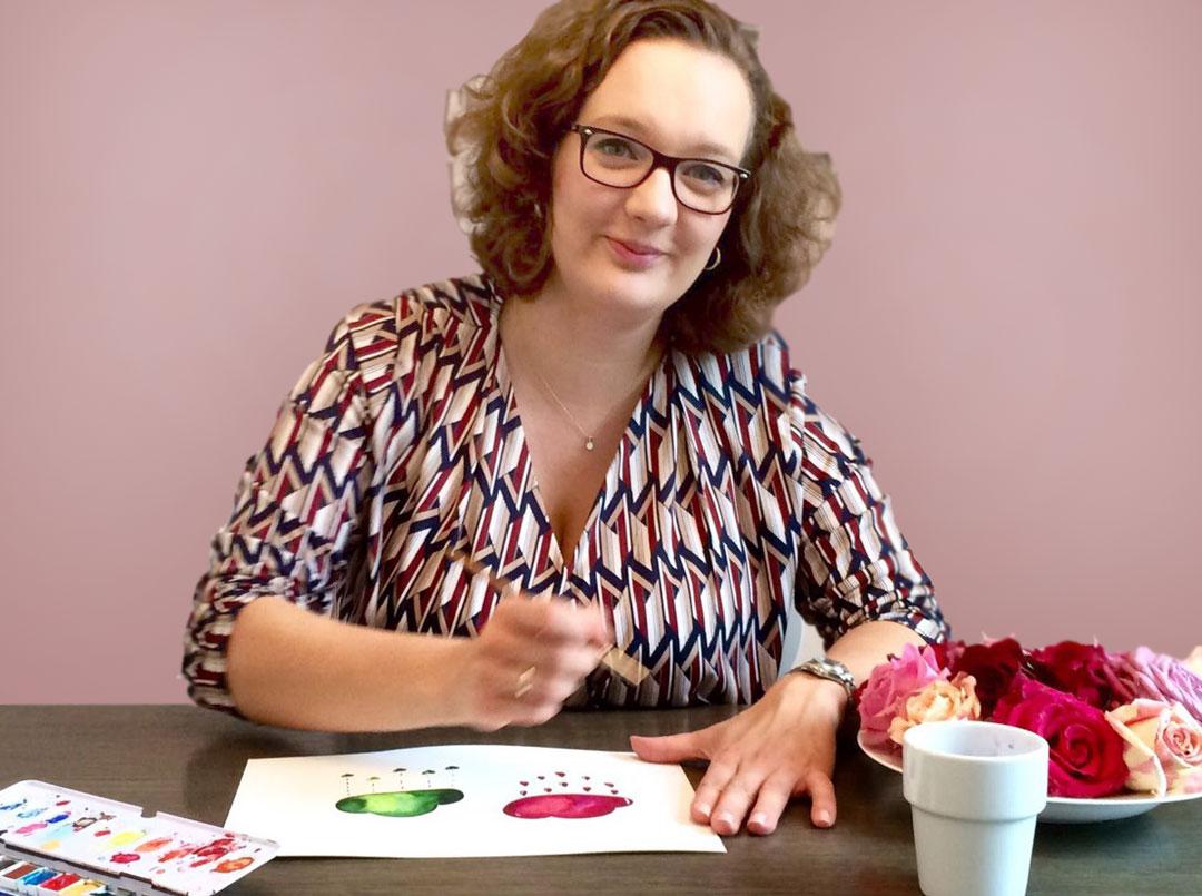 Designerin Marlene bei der Arbeit