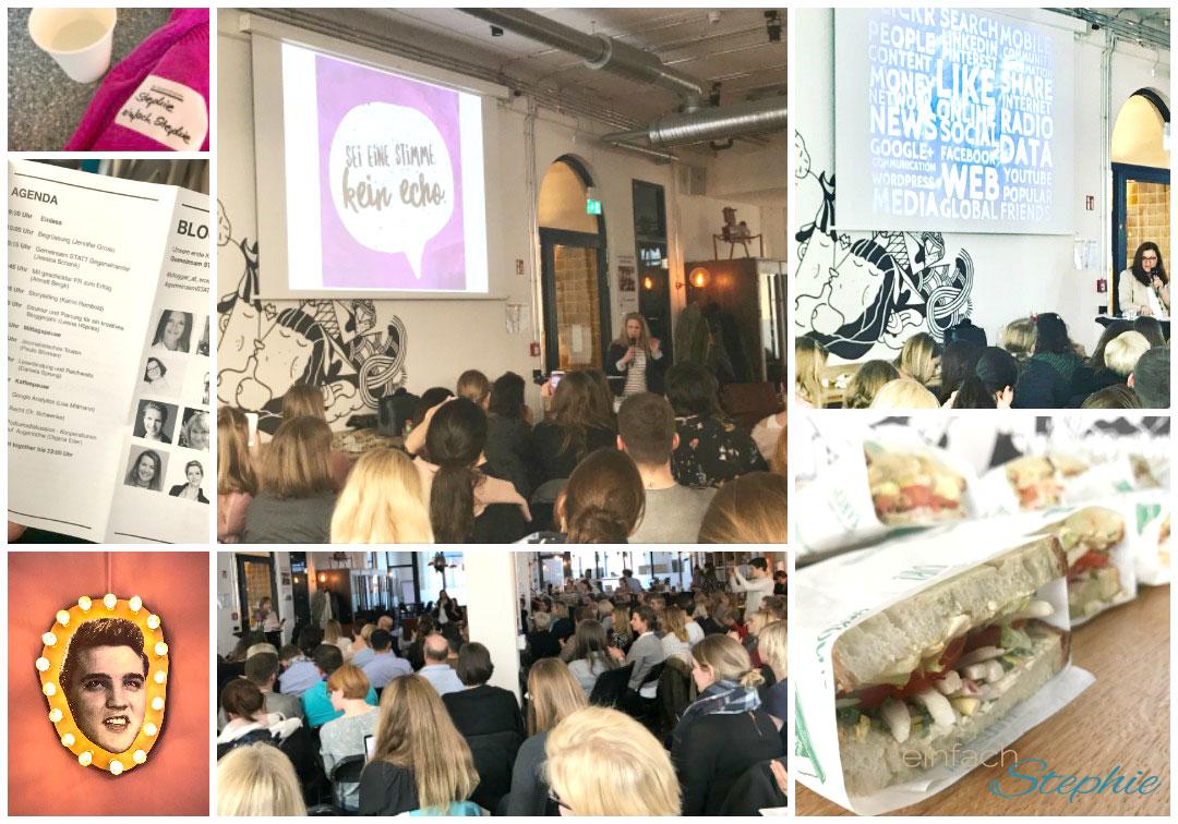 Eine Collage aus Bildern des Tages zur Bloggerkonferenz blogger@work in Hamburg