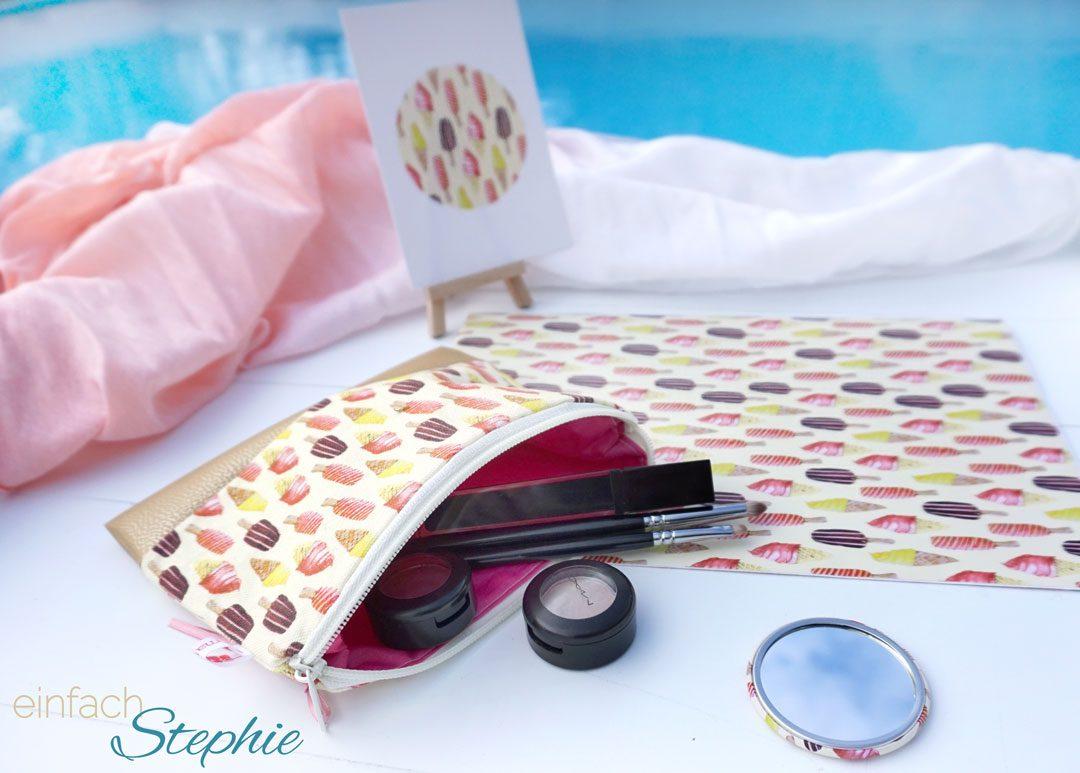 Verlosung eines Sets aus Kosmetiktasche, Taschenspiegel, Postkarte und Geschenkpapier. Design by Marlene