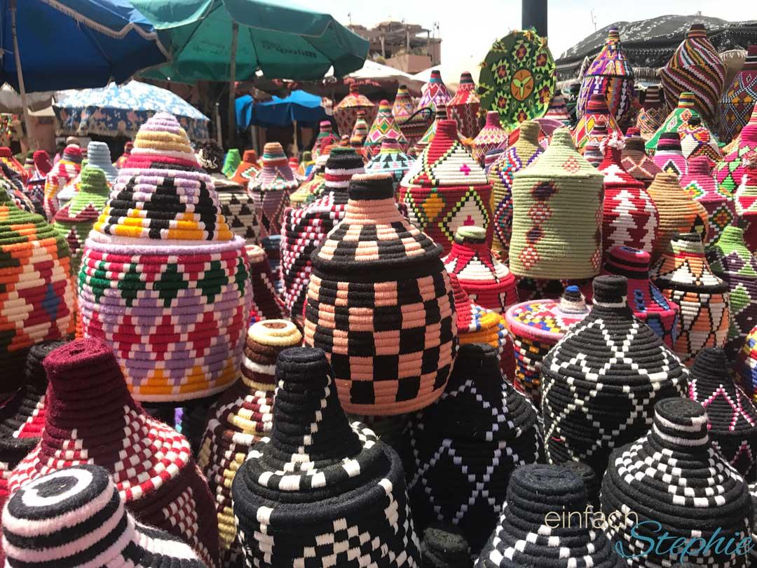 Marrakesch. Handgemachte Körbe auf dem Marktplatz Djemaa el Fna