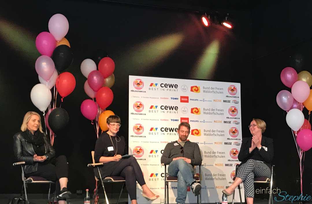 Bloggerkonferenz Blogfamilia 2017 in Berlin. Kirsten Frohnert, Cornelia Spachtholz, Tobias Weber, Mareice Kaiser