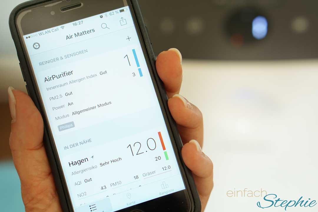 Gute Luft trotz Pollenallergie. App Air Matters und Philips Luftreiniger