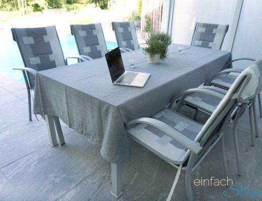 Ikea Hack: DIY Tischdecke für großen Tisch ohne nähen. Günstige Tischdecke für langen Tisch