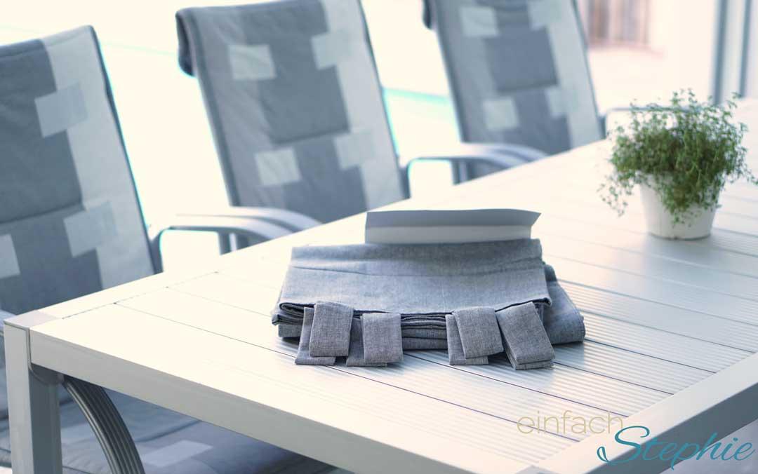 Ikea Hack: DIY Tischdecke für großen Tisch ohne nähen. Gardinenschal