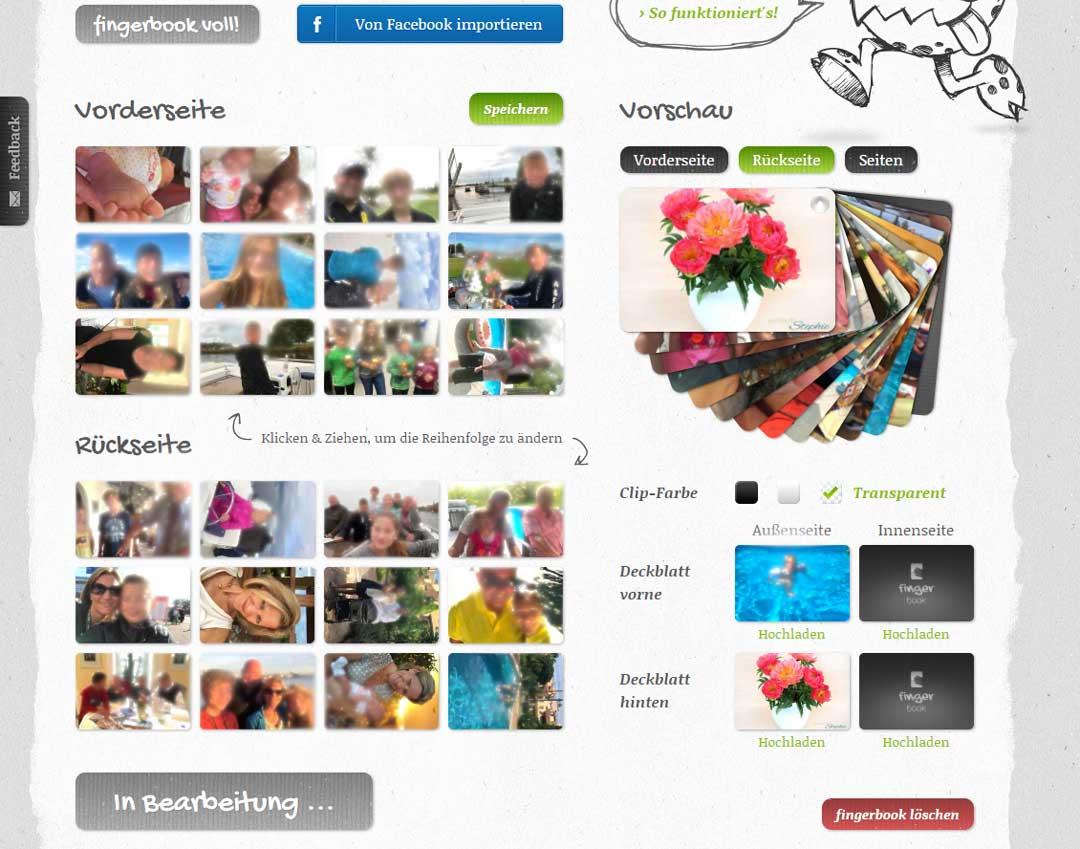 Screenshot: So schnell ist das Fingerbook online erstellt