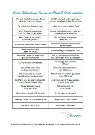 Glückskekse basteln aus Papier | Glückskeks Sprüche kostenlos