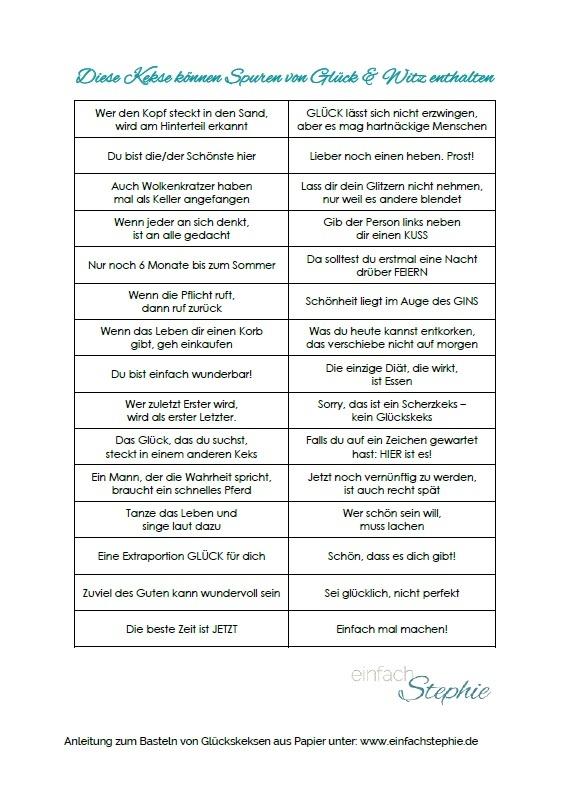 Glückskeks-Sprüche kostenlos ausdrucken - mit Spuren von Glück und Witz