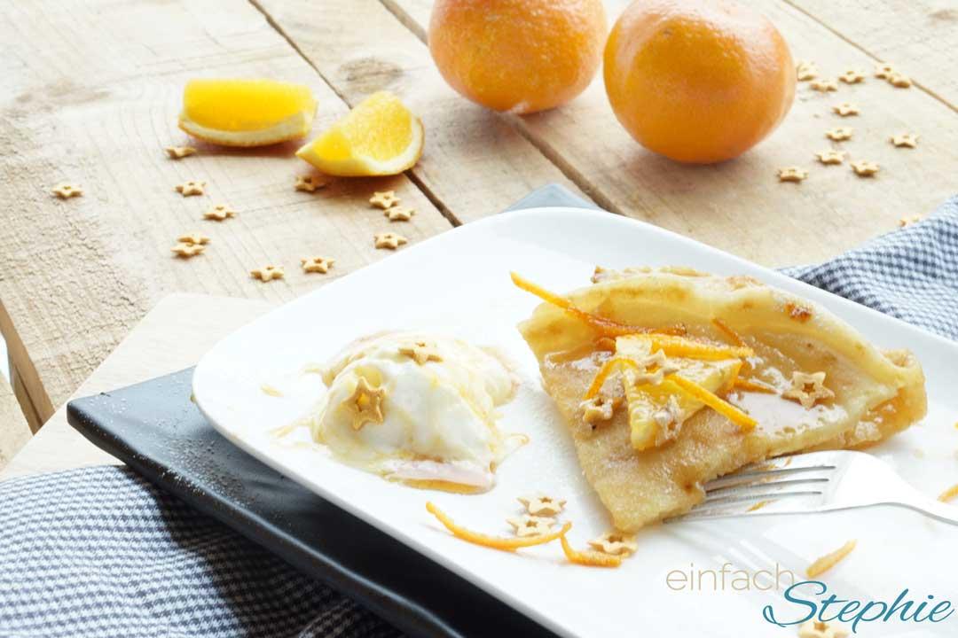 Weihnachtliche Desserts: Crepe Suzette mit Vanilleeis