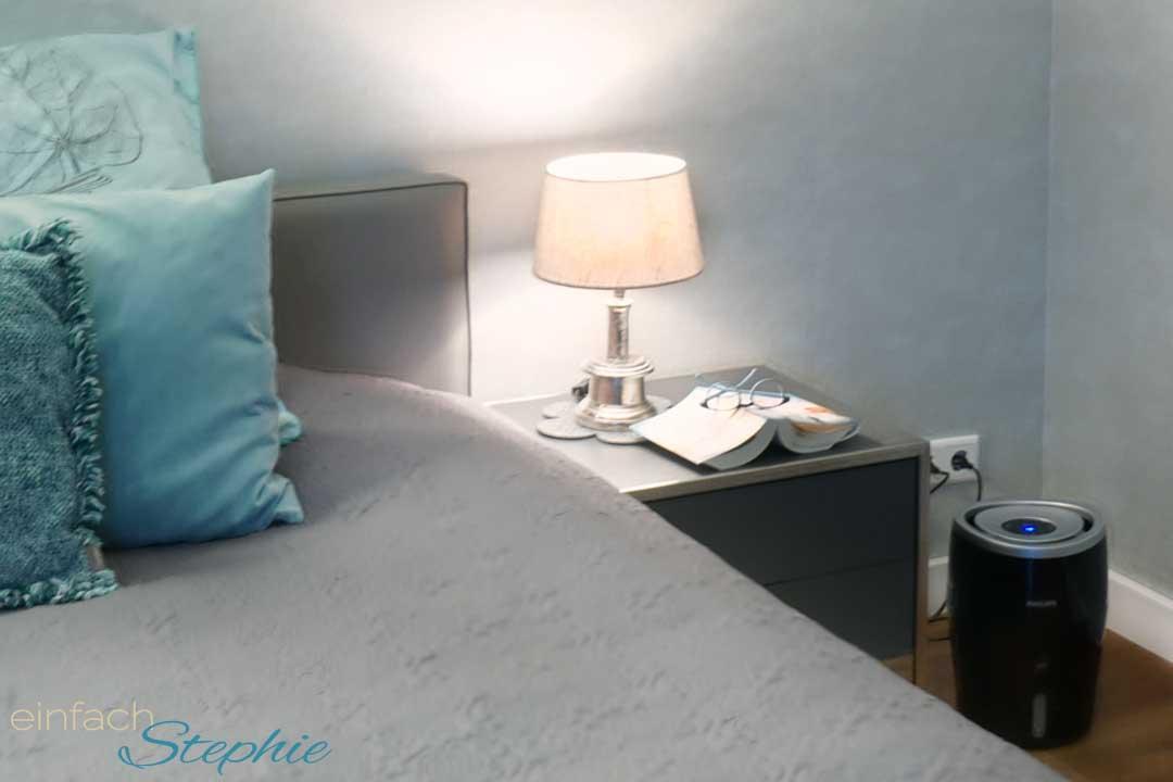 Philips Luftbefeuchter für schönere Haut und Haare im Winter. Luftbefeuchter für das Schlafzimmer