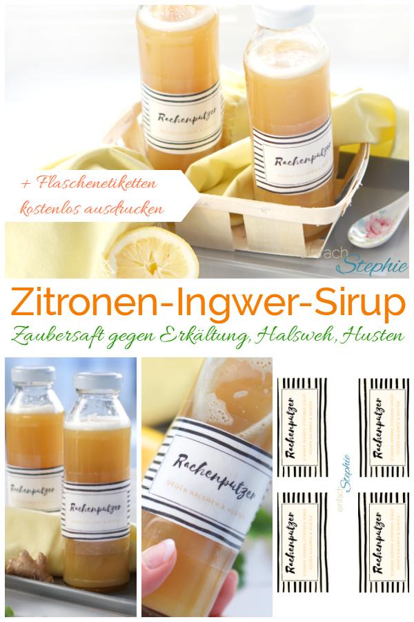Pinterest Pin für Zitronen-Ingwer-Sirup dem Zaubersaft gegen Erkältung, Halsweh und Husten