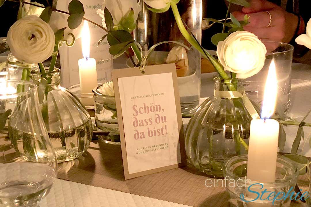 einfache Tischdeko Hochzeit, Gartenfest, Kommunion, Taufe, Konfirmation
