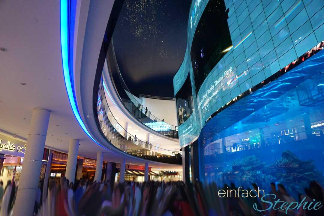 Shopping im Dubai Urlaub. Dubai Mall mit Aquarium und Aqua-Zoo