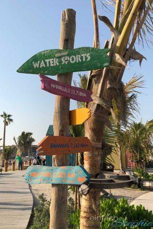 Strandparadies La Mer. Ausflugstipp für Dubai Urlaub mit Familie. Wegweiser