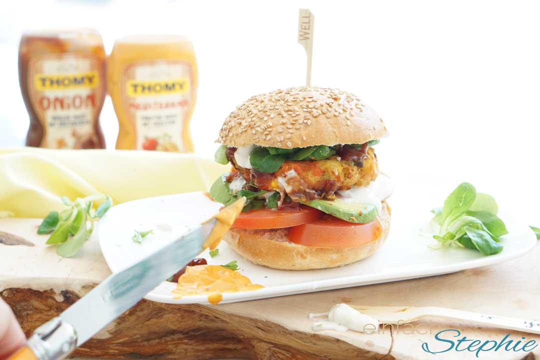 Veggie Burger orientalisch mit leckeren Grillsaucen von Thomy