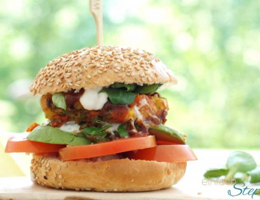 vegetarischer Burger ohne Soja mit Kichererbsen und Gemüse