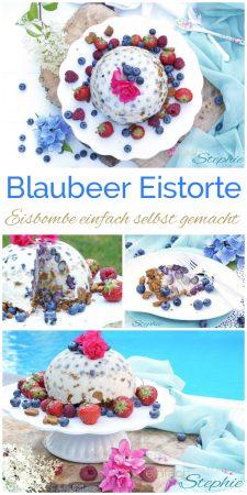 Blaubeer Eistorte. Eisbombe einfach selbst gemacht mit www.einfachstephie.de