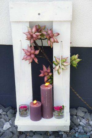 Paletten DIY. Haustürdeko mit Kerzen