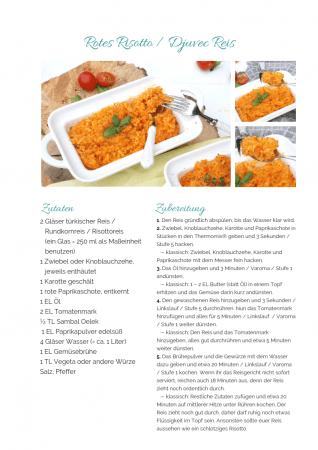 Djuvec Reis Paprika Risotto Rezept als PDF kostenlos ausdrucken. Gratis eBook vegetarisches Weihnachtsessen