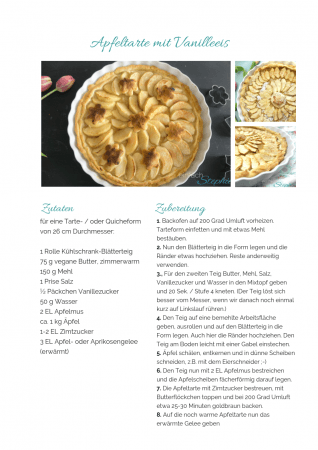 Apfelkuchen ohne Ei. Apfeltarte Rezept als PDF kostenlos ausdrucken. Gratis eBook vegetarisches Weihnachtsessen