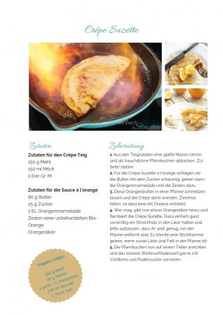 Crepe Suzette Rezept als PDF kostenlos ausdrucken. Gratis eBook vegetarisches Weihnachtsessen