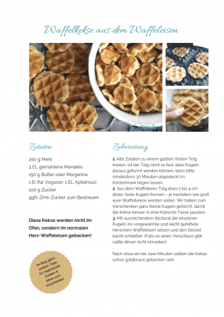 Waffelkekse Rezept als PDF kostenlos ausdrucken. Gratis eBook vegetarisches Weihnachtsessen
