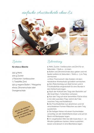 Ausstechkekse ohne Ei Rezept als PDF kostenlos ausdrucken. Gratis eBook vegetarisches Weihnachtsessen