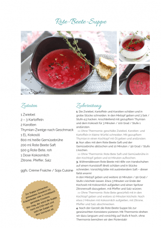 Rote Beete Suppe Rezept als PDF kostenlos ausdrucken. Gratis eBook vegetarisches Weihnachtsessen