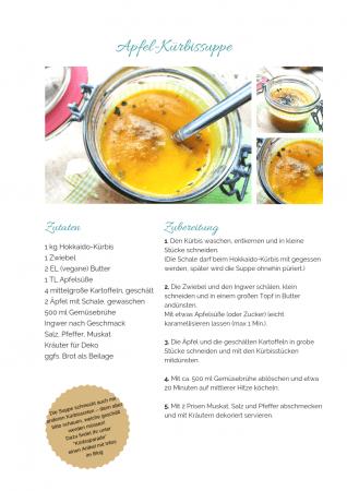Apfel-Kürbissuppe Rezept als PDF kostenlos ausdrucken. Gratis eBook vegetarisches Weihnachtsessen