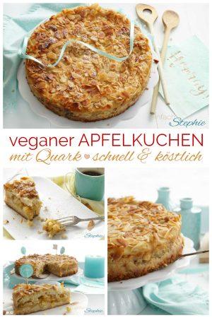 Veganer Apfelkuchen ohne Ei. Schnelles Lieblingsrezept für veganen Geburtstagskuchen von www.einfachstephie.de