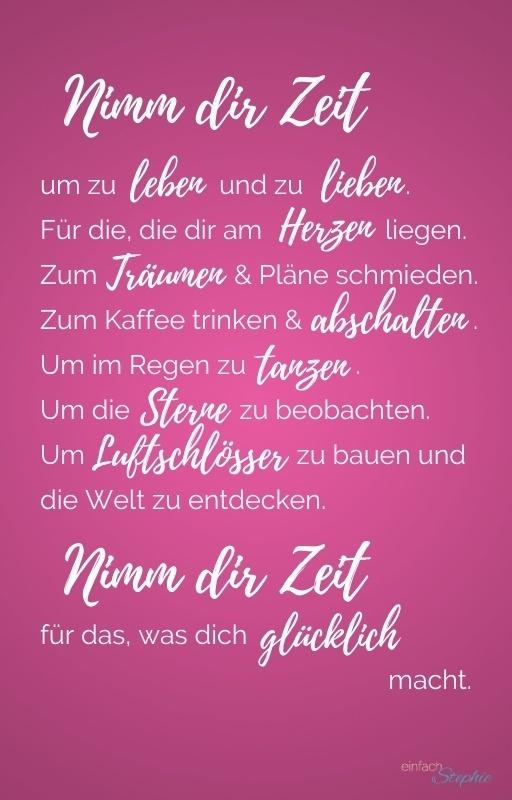 """WhatsApp Karte Spruch """"Nimm dir Zeit"""" kostenlos bei einfachstephie.de"""