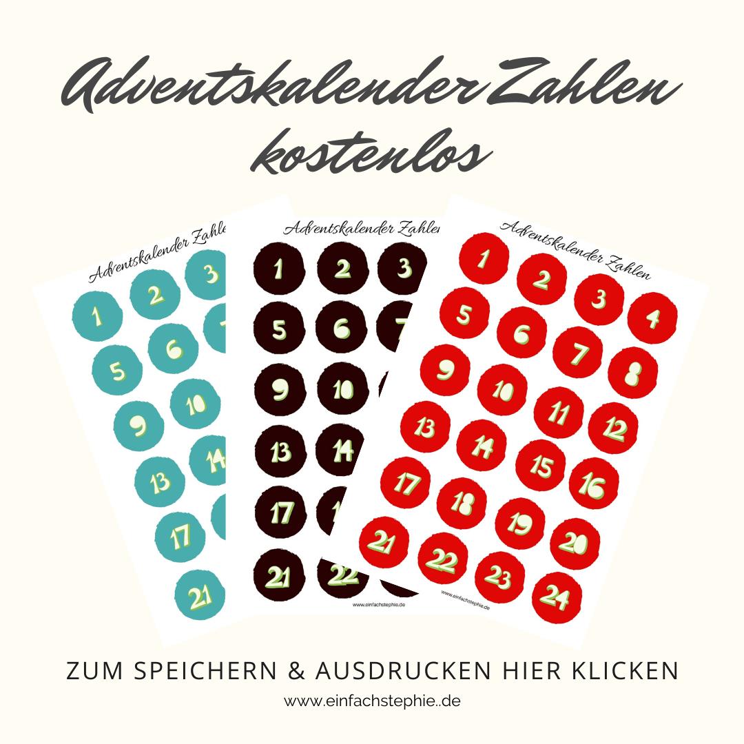 Adventskalender Zahlen kostenlos für Low Carb und Fitness Adventskalender von einfachstephie.de