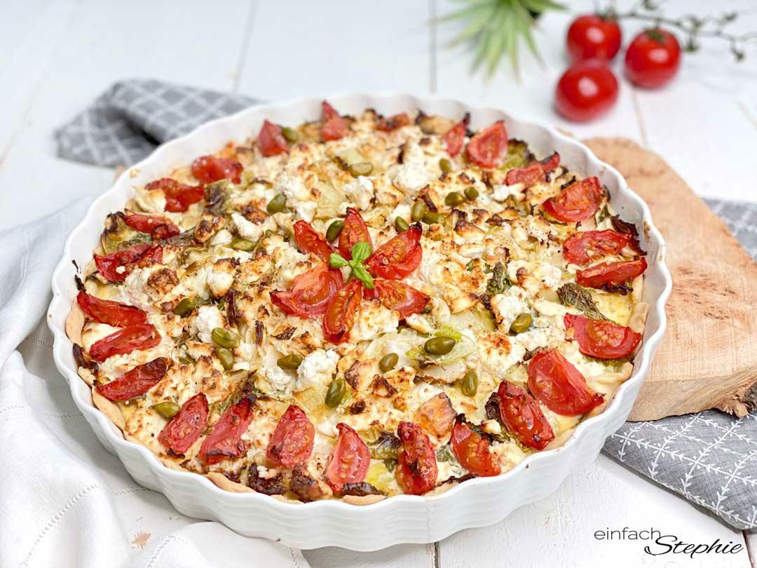 Gemüse-Quiche. Einfaches Rezept vegetarisch