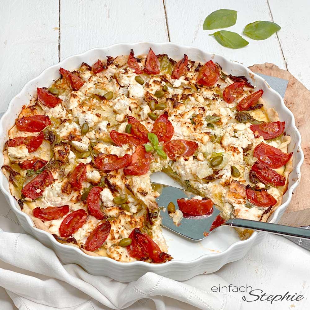 Gemüse-Quiche vegetarisches Rezept oder vegan von einfachstephie.de