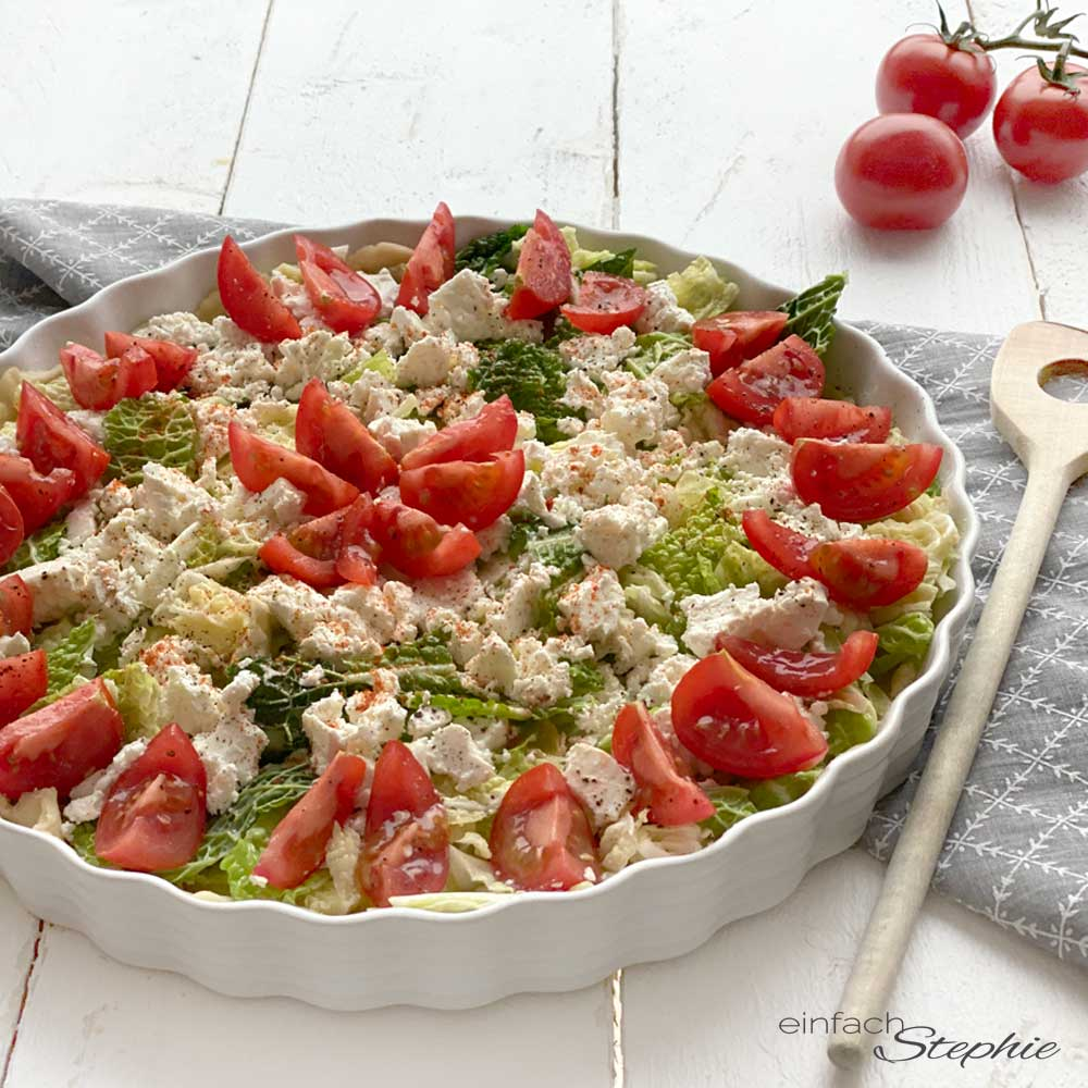 Wirsing Quiche mit Schafskäse. Vegetarisches Rezept von einfachstephie.de